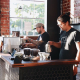 Owner, Keith Gehrke (in the hat), and manager, Justin Gomez, at States Coffee