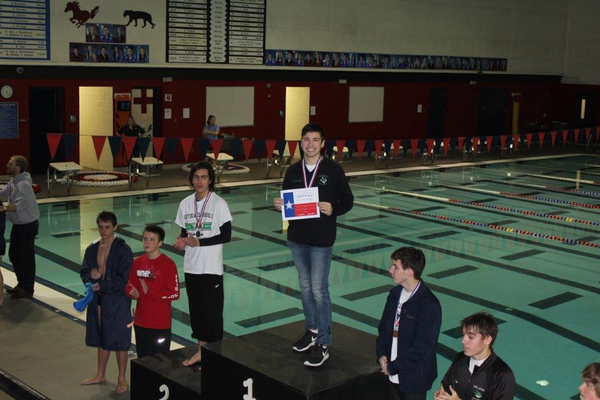 Carroll Diver Nate Hernandez winning district for the third year in a row. Photo courtesy of Carroll Diving Coach Carolyn Hryorchuk.