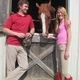 Juliana Hutchings and Ian Sebring with Circulate a former race horse who is used for lessons