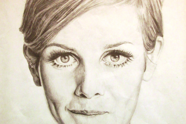 A pencil portrait of the model Twiggy by Oxford 11th grader Morgan Curl.