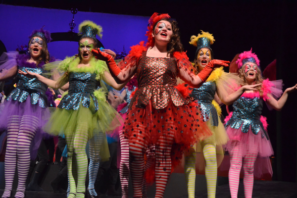 "Grace Zito, center, leads the bird girls in ""Seussical Jr."""