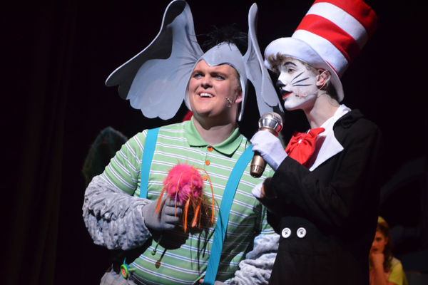 "Forrest Lorrigan (Horton) and Matthew Maag (Cat in the Hat) perform in ""Seussical Jr."""