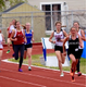 Geneva Humbert, freshman runner at Highland High School, leads the pack during a meet earlier this season. Humbert has improved her times with every race. – Chris Humbert