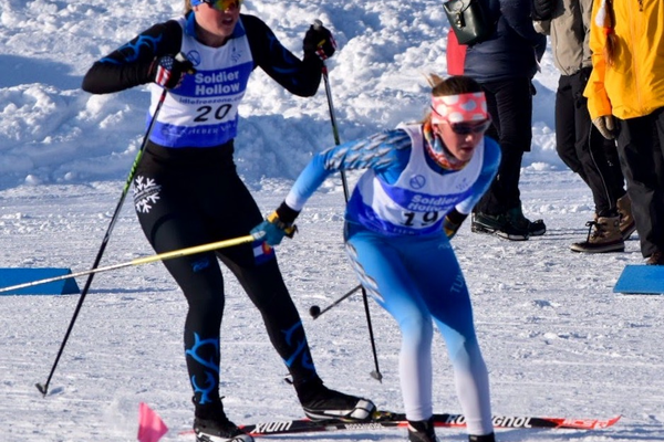 Geneva Humbert pulls in front of a fellow racer during a race at Soldier Hollow in Midway, Utah. Besides skiing, Humbert also runs track and plays soccer. – Chris Humbert