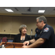 "Donna Kelley, Utah Prosecution Council, and Lee Russo, West Valley City Police Department Chief, talk after a press conference on April 14 at West Valley City Hall. The two helped in implement a new protocol for sexual assault victims called ""Trauma Informed Victim Interview."" – Travis Barton"