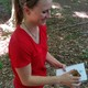 Emily duPont stamps her logbook with the found stamp.