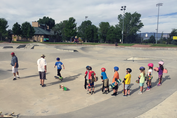 Skaters await their turn to attempt a carve during day one of camp. Though a few participants have some skateboarding experience, many have never set foot on a skateboard. Spock's Skate Camp includes clinics for both beginner and intermediate skaters. —Sarah Almond