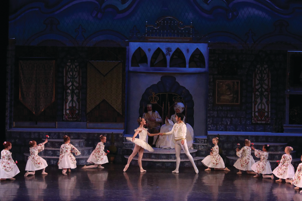 "Julianna Pierson and Jake Fields play Princess Aurora and Prince Desire during the wedding scene of ""Sleeping Beauty.""—Kate Johnson"
