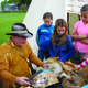 Mountain Man Boyd Lythgoe showed Silver Mesa fourth-graders animal skins and supplies mountain men used when exploring the west. —Julie Slama