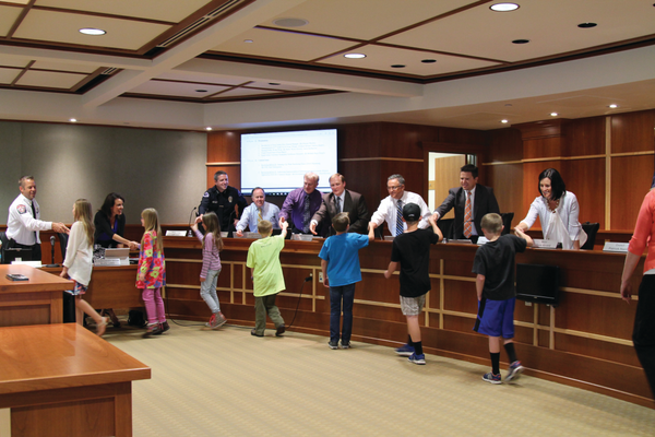 Students from South Jordan Elementary shook hands with the mayor, council members and city officials. —Sandra Osborn