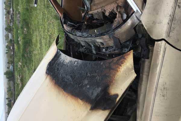 The fire on Arpero's car melted through the windshield and dashboard. —Alek Arpero