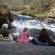 Taking a break at Panther Creek Falls.