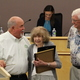 Foreground: L to R - Councilman Steve Fairbanks, June Davidson, 100, and Jim Davidson stand before the Sandy City Council on July 19, 2016. June received proclamations from Utah Gov. Gary Herbert and Sen. Orrin Hatch, R-UT. Background: Councilwomen Kris Coleman-Nichols and Maren Barker (Photo: Chris Larson, Sandy City Journal)