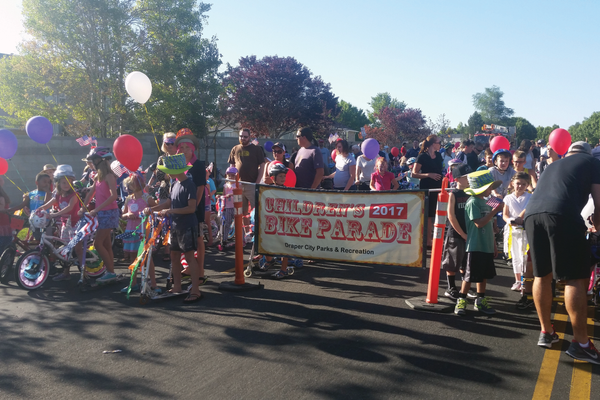 Kids line up at the starting line for the Children's Bike Parade. —Kelly Cannon