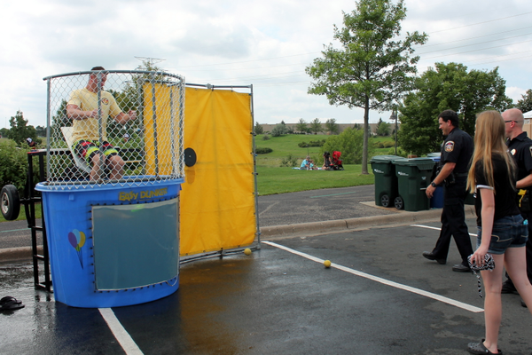 """Sink a Cop"" fundraiser at the Maple Grove National Night Out Kickoff Aug. 2, 2016 at the Maple Grove Community Center. (photo by Wendy Erlien)"