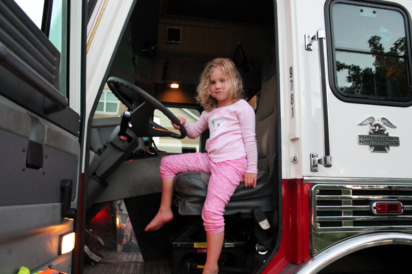 Maple Grove Firefighters visit Maple Grove neighborhoods during National Night Out Aug. 2, 2016. (photo by Wendy Erlien)