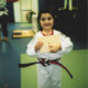 Just turning 5 Mary was still too young to join the Karate Kids group so Pacific Martial Arts created a red, white and blue belt just for her and has been the only one in PCA history to earn it.