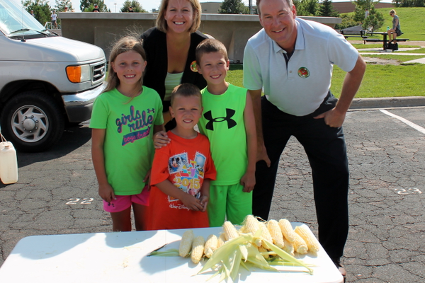 Maple Grove  City Administrator Heidi Nelson and Parks and Recreation Director Chuck Stifterin, along with their team, at the Minnesota Grown Three Minute Try-athlon at the Maple Grove Farmers Market Aug. 4, 2016.