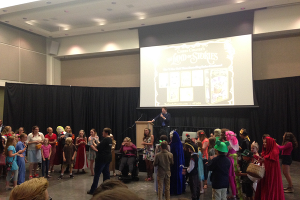 ":Chris Colfer, author of the ""Land of Stories"" series, holds a costume contest of participants at an event at the Viridian Event Center in West Jordan. –Mylinda LeGrande"