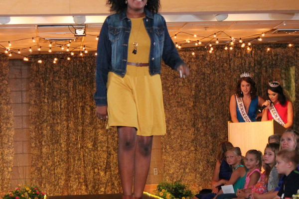 Lexi T.  models clothes from Maurices during the annual Back-to-School Fashion Preview Aug. 17, 2016 at the Maple Grove Community Center. (Photo by Wendy Erlien)