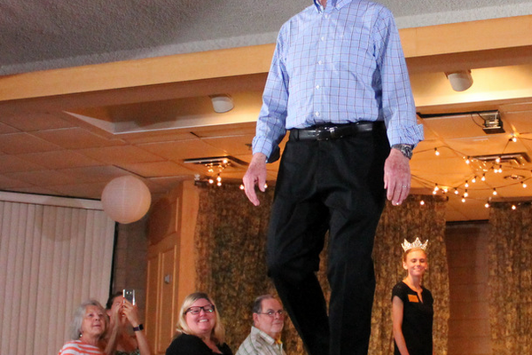 Robert F. models clothes from JC Penneys during the annual Maple Grove Fashion Flair August 18, 2016 at the Maple Grove Community Center. (Photo by Doug Erlien)