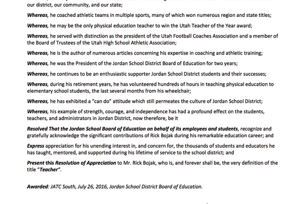 A resolution passed by the Jordan School District Board in honor of former teacher Rick Bojak. — Jordan School District