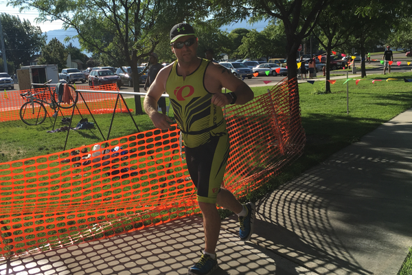 Derek Jones begins the running portion of the Taylorsville Triumph Youth and Family Triathlon. –Tori La Rue