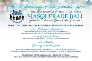 Masquerade Ball Jubilee to benefit Break the Barriers - start Sep 21 2016 0600PM