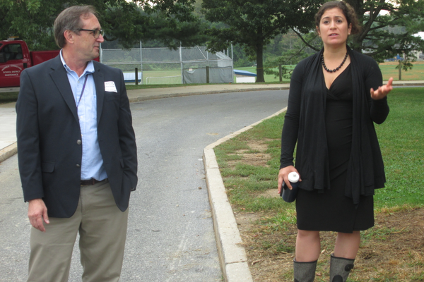 David Bauman and Andrea Suarez Falken were the special guests at a tour of Patton Middle School on Sept. 28.