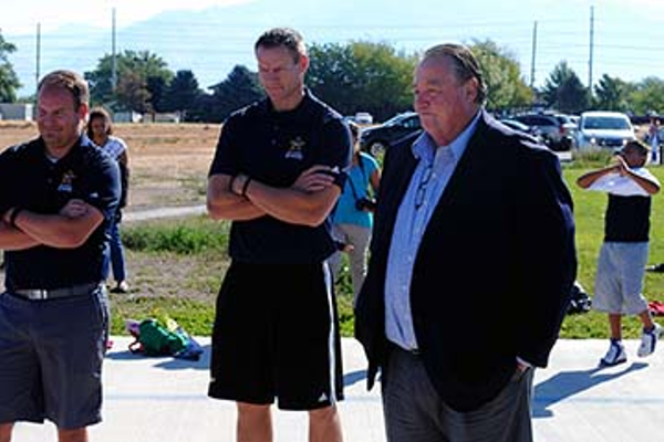 Bart Sharp and Jordan Brady of the Salt Lake City Stars with Taylorsville Mayor Larry Johnson (Billy Swartzfager)