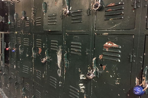 A wall of lockers at the Mira Costa gym