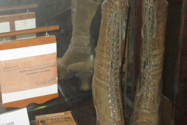 A pair of boots once for sale at Simon's Men's and Boy's Outfitter.