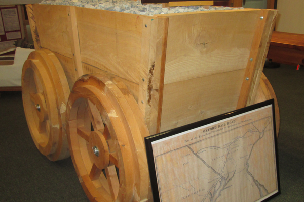 A reproduction of an ore cart used on the Oxford Railroad.