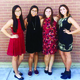"""Pictured left to right, seniors Soyoung Jeon, Yutzil Roman, Lacy Chun and Brianna Bernstein pose for a photo before an afternoon match. In keeping with tradition, the Huskies dress up on days they have home matches. """"We would dress up so that our fellow students knew there was home tennis match,"""" said Bernstein. (Brianna Bernstein/Hillcrest Tennis Player)"""