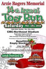 14th Annual Arzie Rogers Toy Run - start Nov 19 2016 0830AM