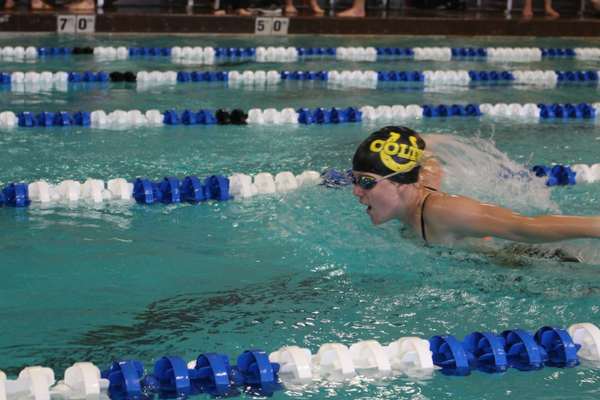 Senior Cassadee Bunten swims the 100-yard butterfly at a swim meet on Nov. 17 at the Marv Jensen Recreation Center. (Travis Barton/City Journals)