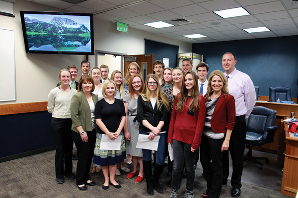 The Herriman Youth Council poses for a picture with city officials. The Herriman Youth Council for the 2016–17 year took the oath of office on Nov. 9. (Destiny Skinner/Herriman City)