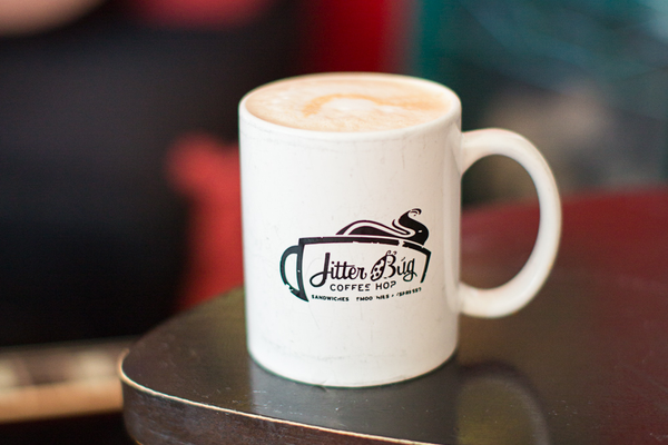 Latte at Jitterbug Coffee Hop