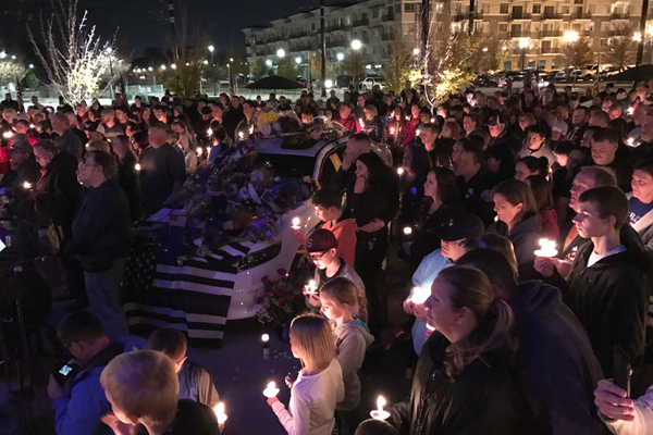A candlelight vigil was held at Fairbourne Plaza on Nov. 9 to honor officer Cody Brotherson. (Kevin Conde/West Valley City)