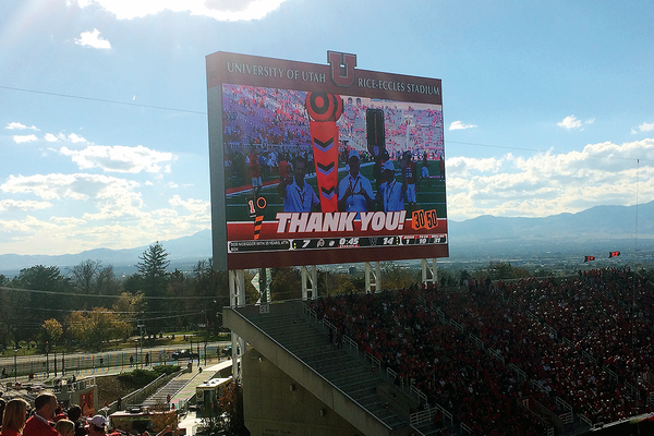 The University of Utah paid tribute to Steve Vincent and two others during the second quarter of the Washington game Oct.29. (Greg James/City Journals)