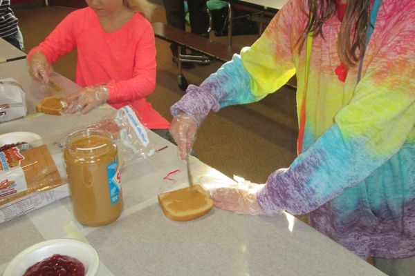 Peanut butter and jelly sandwiches were put together at Hillendale Elementary.