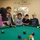 : Jordan McDaniel, Hervie Cortez, Kelsy Alfaro, Mycaella Prada, Julianna Perez, Miguel Cortez and Fisher Jarvis enjoy a game of pool. (Keyra Kristoffersen/City Journals)