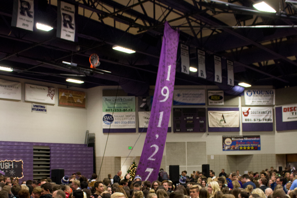 : Riverton High School students cover their gymnasium floor after student body officers announced the grand total for their charity drive: $191,274.17. (Brycelee Johnson/Riverton High School)