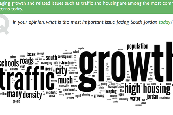 Residents are most concerned with growth and traffic, according to South Jordan City's recent resident survey. (South Jordan City)