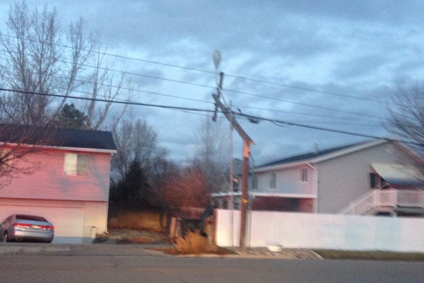 Broken power pole (Andrea Madsen/resident)