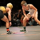 Sophomore Riley Noble wrestles against Zak Kohler of Wasatch in the state championship match. Noble finished the season with a 42-10 record. (Macy Wilcox)