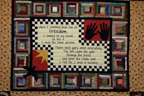 A quilt of Harriet Tubman at the Tubman Museum & Educational Center