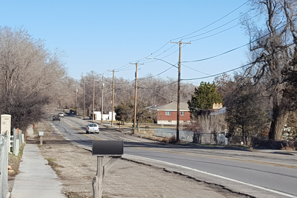 : Looking North on Redwood Road from Western Charm Drive, an intersection that will be aligned with Christian Way. This intersection has met warrant to have a traffic light installed. (Tiffany Webb/City Journals)