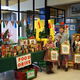Students from Howard R. Driggs Elementary pose next to the school's great haul of food items. (Aspen Perry/City Journal)
