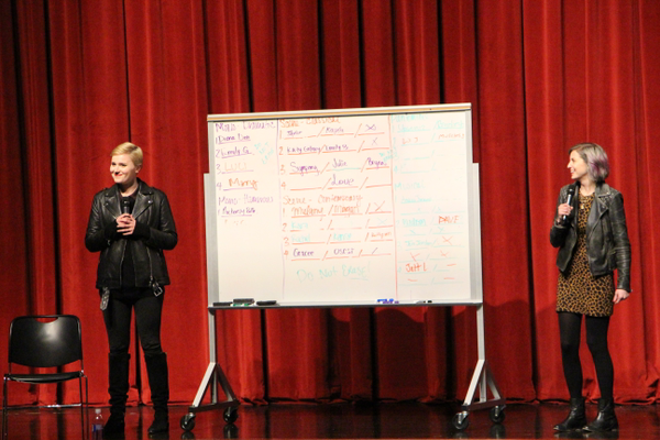 "Veronica Roth (left) speaks to audience members with Sarah Enni at Granger High School. Roth was promoting her new book, ""Carve the Mark."" (April Hendriksen/Tri-Color Times)"
